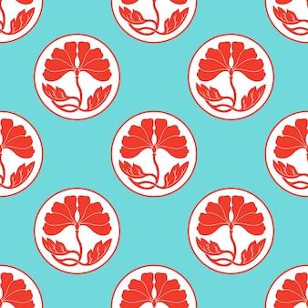 Blumen lotus polka dot nahtlose muster flach simlpe vektor illustraton