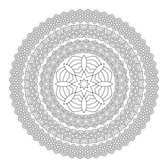 Blumen-mandala für malbuch. ethnisches schwarzweiss-hennastrauchmuster.