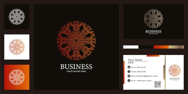 Blumen-, mandala- oder ornament-luxus-logo-template-design mit business card.o template-design mit visitenkarte.