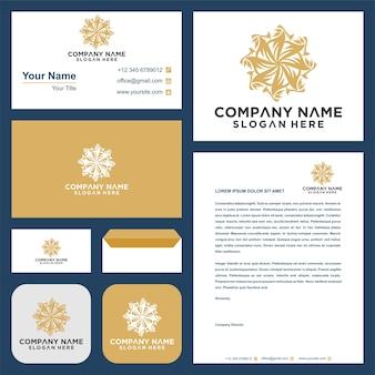 Blumen-mandala-ornament-vektor-logo-design und visitenkarte
