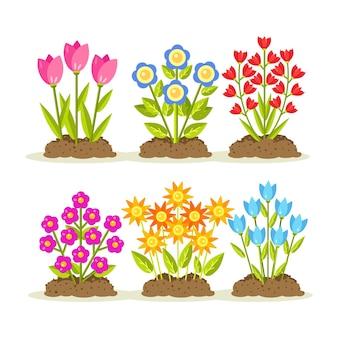 Blumen mit haufen erde und bodenillustration