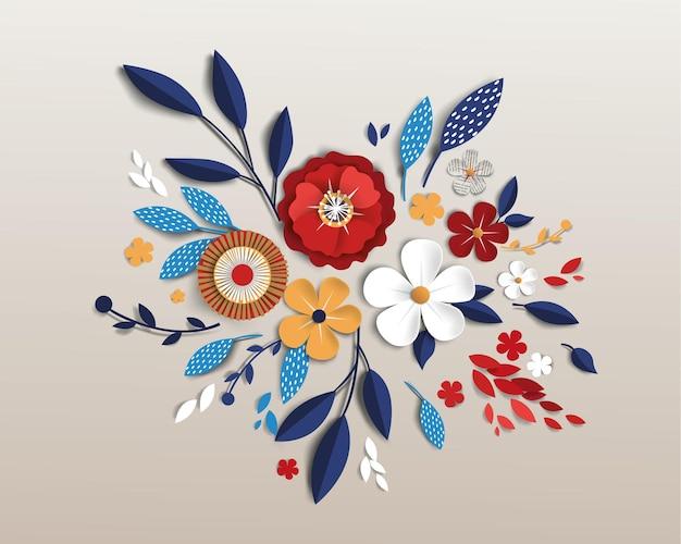 Blumen mit realistischem schatten zu banner oder promotionen