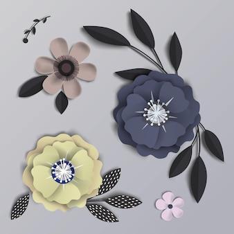 Blumen mit realistischem schatten.