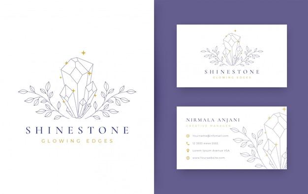 Blumen mit schmuck minimalem logo-design mit visitenkarte