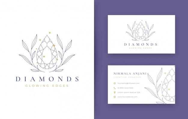 Blumen mit schmuck minimales logo-design mit visitenkarte