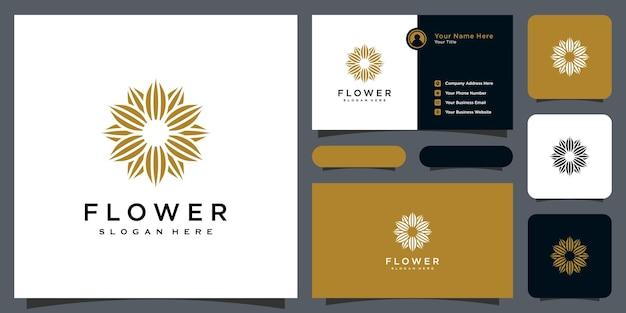 Blumen-monolinien-luxuslogo mit visitenkartendesign