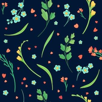 Blumen nahtlose muster auf schwarz