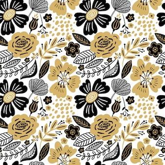 Blumen nahtloses muster gold und schwarze farben. flache blüten, blütenblätter, blätter mit und kritzeleien. botanischer hintergrund im collagenstil für textilien und oberflächen. ausschnitt papier design.