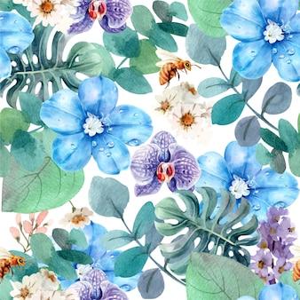 Blumen nahtloses muster premium