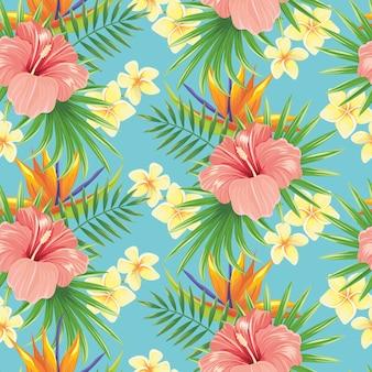Blumen nahtloses muster. stilvolle frühlingsblume, tropische pflanzenblätter und blumenornamentfliesenhintergrund