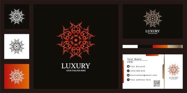 Blumen- oder ornament-luxus-logo-vorlagendesign mit visitenkarte. Premium Vektoren