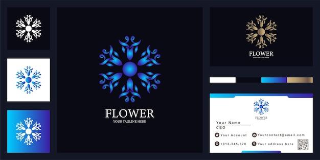 Blumen- oder verzierungsluxuslogoschablonenentwurf mit visitenkarte.
