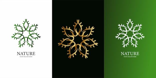 Blumen-, ornament- oder mandala-logo-schablonendesign. ent logo template design.