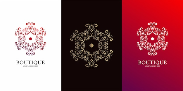 Blumen-, ornament- oder mandala-logo-schablonendesign.