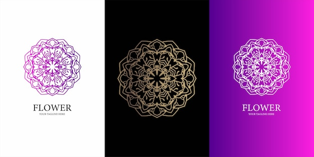 Blumen-, ornament- oder mandala-logo-vorlage.
