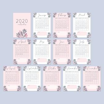 Blumen-pfirsich-rosa-kalender-karte 2020