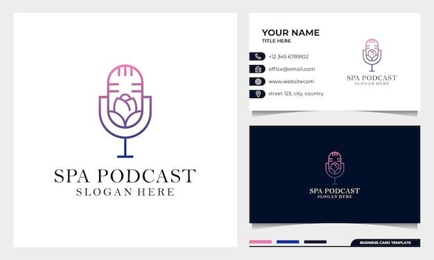 Blumen-podcastmikrofon-logoentwurf mit visitenkartenschablone