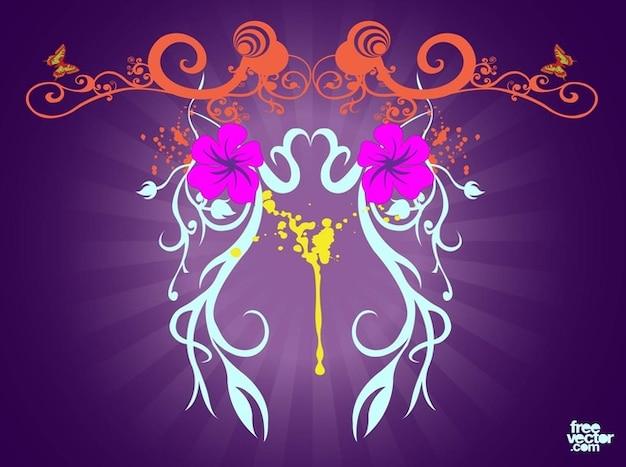 Blumen rollt auf lila hintergrund