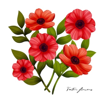 Blumen rote mohnblumenstraußillustration