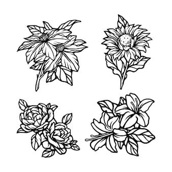 Blumen setzen linienkunstillustration
