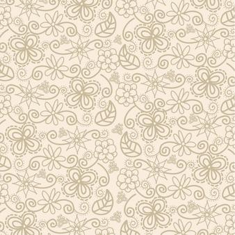 Blumen über beige hintergrundmuster-vektorillustration