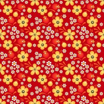 Blumen und beeren im khokhloma-stil