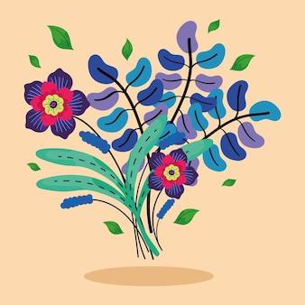Blumen und blätter bunt