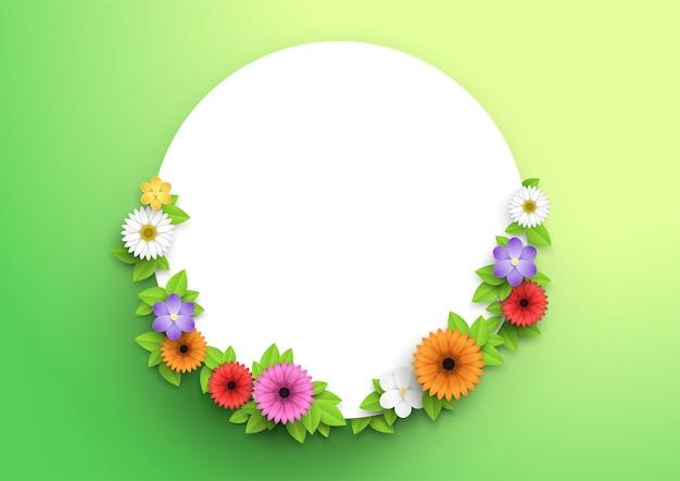 Blumen und blätter kranz um 3d weißen kreis