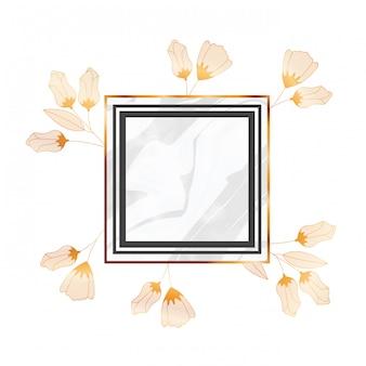 Blumen und blätter mit rahmen lokalisierter ikone