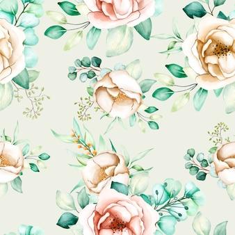 Blumen und blätter nahtloses muster