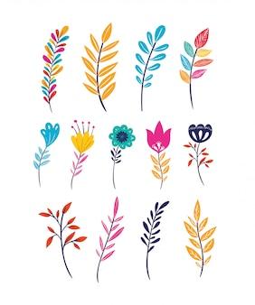 Blumen und blätter stellen icons
