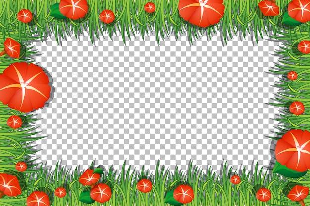 Blumen- und blätterrahmenschablone auf transparentem hintergrund