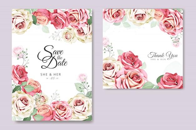 Blumen- und blatteinladungskartenschablone