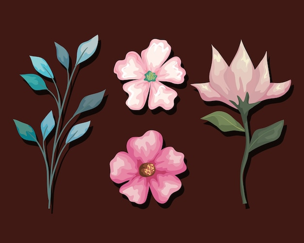 Blumen- und blattmalerei-set, natürliche blumennaturpflanzen-ornament-gartendekoration und botanik-themenillustration