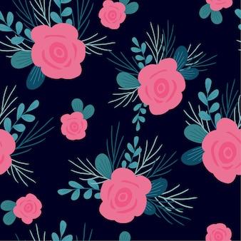 Blumen- und blaues blattmuster
