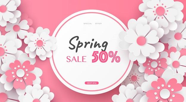 Blumen- und blumenfahnenverkauf im vektorpapierkunstdesign.