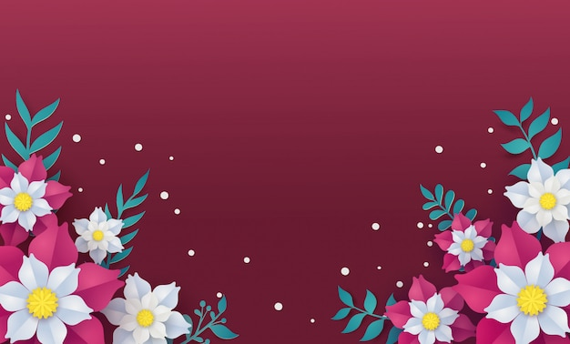 Blumen- und blumenrahmenschablone im vektorpapierkunstkonzept.