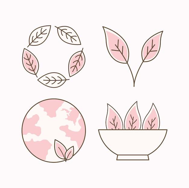 Blumen und erde öko-elemente gesetzt