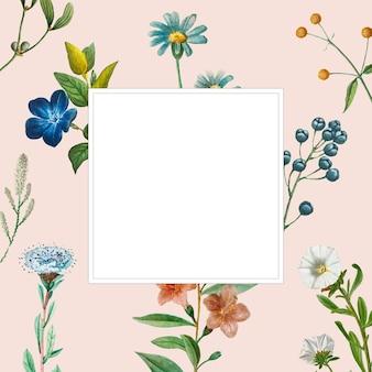 Blumen- und fruchtrahmenvektor mit designraum