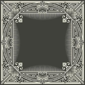 Blumen- und geometrischer monogrammrahmen auf dunkelgrauem hintergrund. monogramm-gestaltungselement.