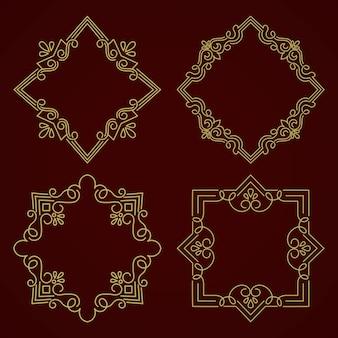 Blumen- und geometrischer monogrammrahmen auf dunkelgrauem hintergrund