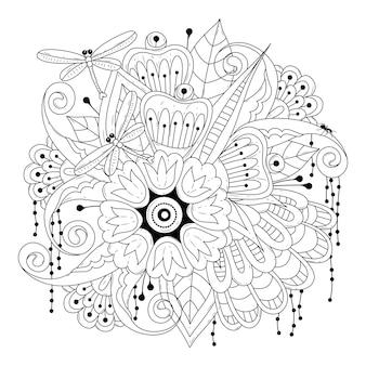 Blumen und libellen schwarz-weiß-malvorlage