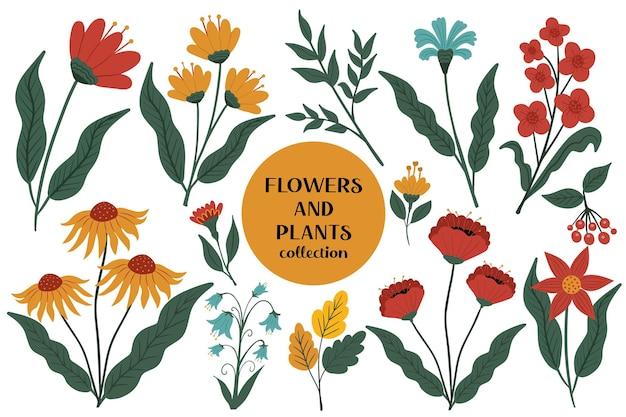 Blumen und pflanzen vintage-set. moderne florale botanische kollektion im cartoon-handzeichnungsstil. vektor-illustration