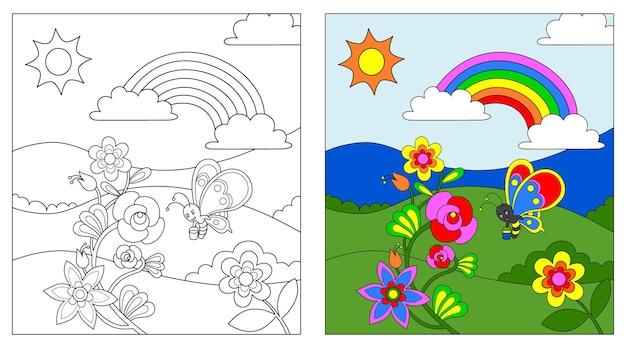 Blumen und schmetterlinge malbuch oder seite, bildung für kinder, vektorillustration.
