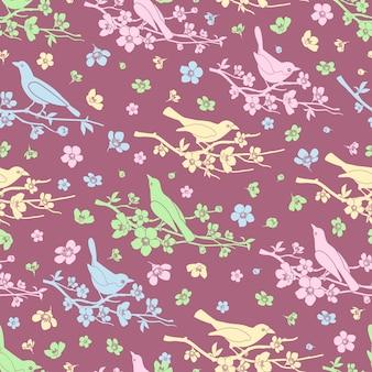 Blumen und vögel nahtlosen hintergrund. blüte und zweig, dekorationsmuster, liebe und romantik, vektorillustration