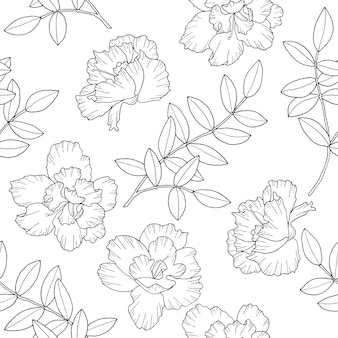 Blumen und zweige mit blättern nahtloses muster. hand gezeichnete tapete im strichkunststil.