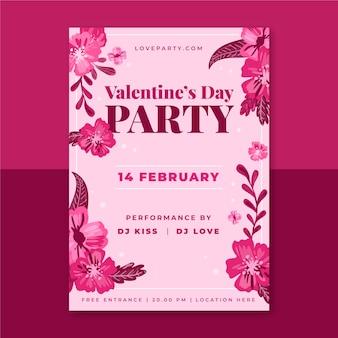 Blumen valentinstag poster vorlage