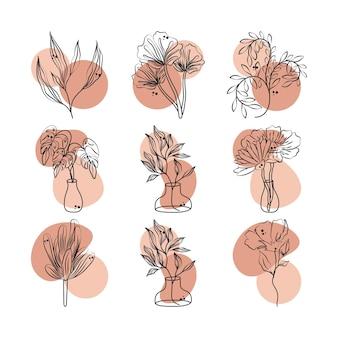 Blumen verzweigen blattlaubpflanzendekorationsikonen gesetzt, linie mit farbiger fleckillustration