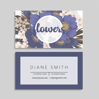 Blumen visitenkarten blau