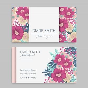 Blumen visitenkarten heiße rosa blumen